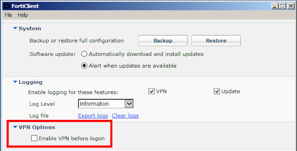 FortiClient VPN options