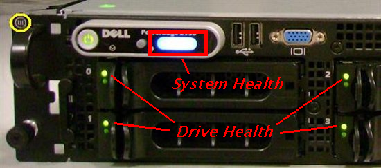 Dell front panel showing drive and system health
