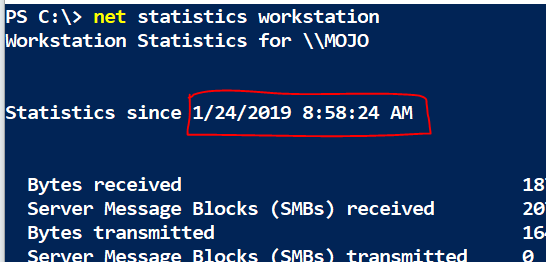 'Net statistics workstation' shows boot time