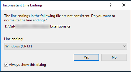 Visual Studio line-ending warning
