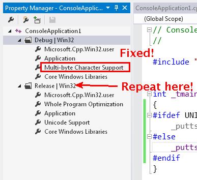 No more Unicode in the Debug property set!