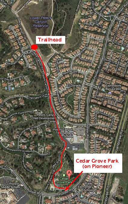 Satellite view of path from Cedar Grove Park to the trailhead