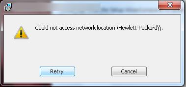 Could not access network location \Hewlett-Packard\\
